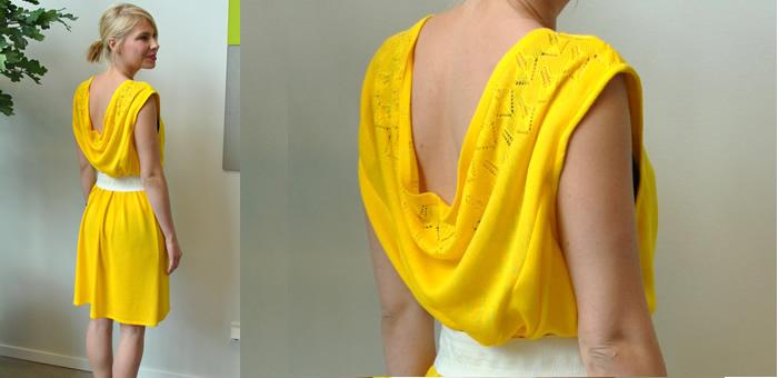 vestidoamarelov2g - Vestido de malha feito de jeans usado